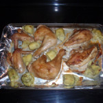 Hunk of Meat Monday-Roasted Chicken with Artichoke Hearts