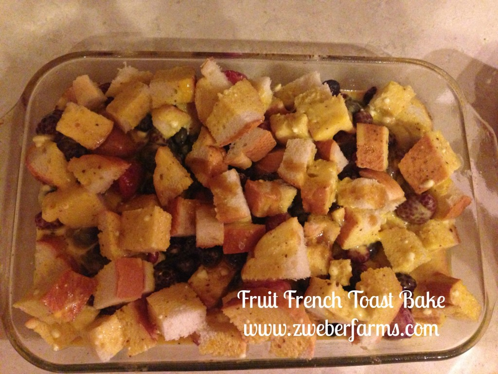 Easy fruit french toast bake via zweberfarms.com