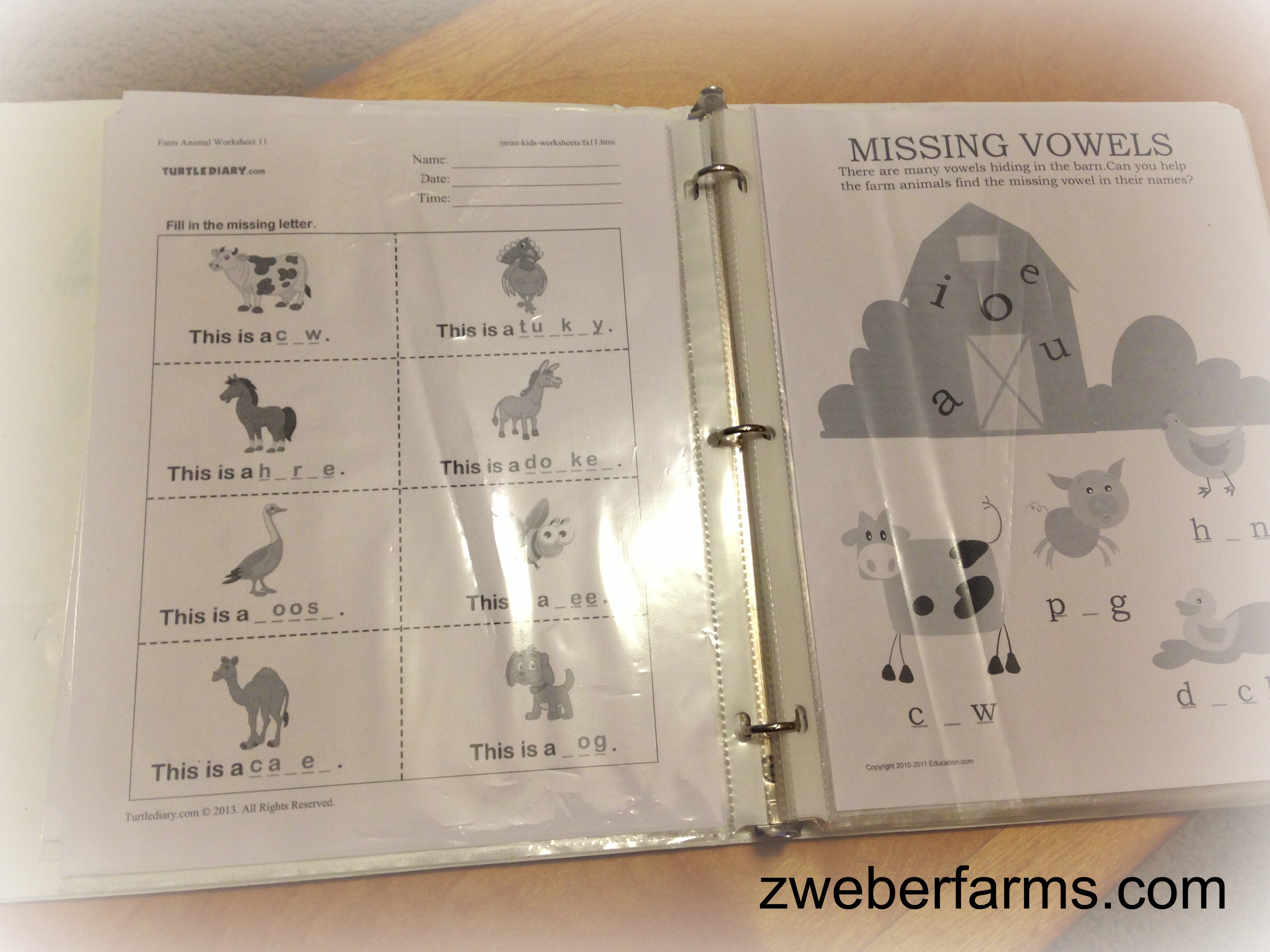 Farm themed worksheets - Zweber Family Farms