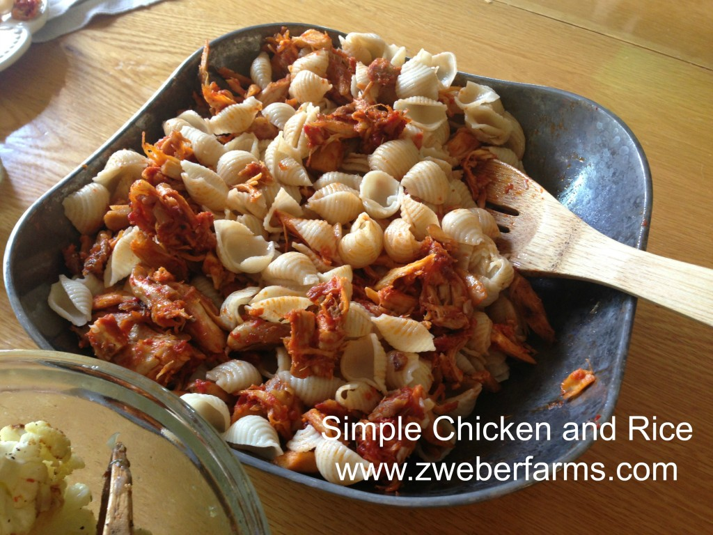 Simple chicken and rice recipe, www.zweberfarms.com