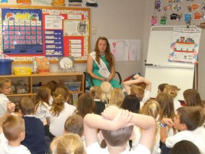 Dairy Princess Maggie Stiles visiting with a classroom. Photo via Maggie Stiles