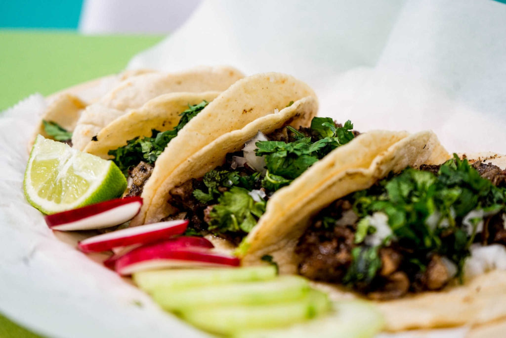 Grass fed beef live tacos